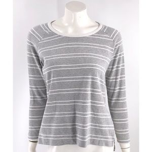 Zara Top Size Small Gray White Striped Long Sleeve
